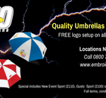 "Quality umbrellas at value pricing! Receive FREE logo setup on all ""Supacolour"" orders!"